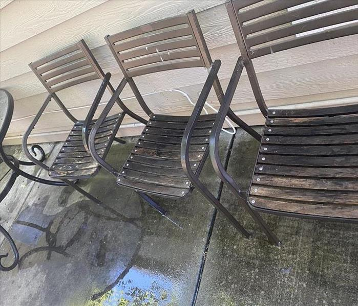 water damaged outdoor chairs