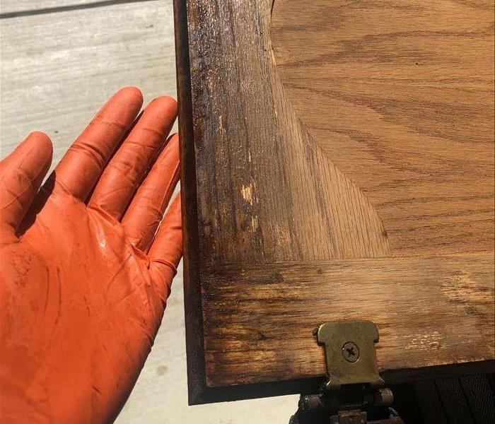 Soot damaged Cabinet door